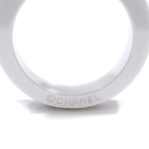 Chanel Ultra 18K White Gold Sterling Silver Ceramic Ring Size 4