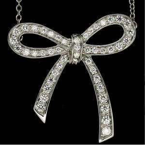 Tiffany & Co Metro Bow Ribbon Platinum Diamond Necklace