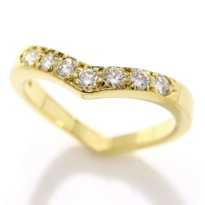 Tiffany & Co. V Band 18K Yellow Gold Diamond Ring Size 7