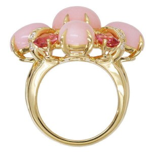 Chanel 18K Yellow Gold With Pink Opal, Pink Tourmaline and Diamond Ring Size 6.5