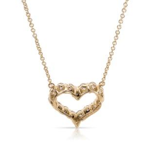 Tiffany & Co. Diamond Heart Pendant Necklace 18K Yellow Gold 0.64ctw.