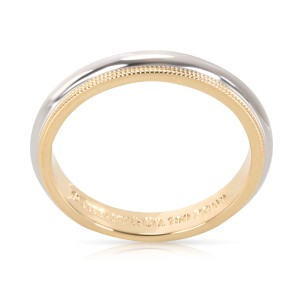 Tiffany & Co. 18K Yellow Gold and Platinum Mens Wedding Ring Size 8.5