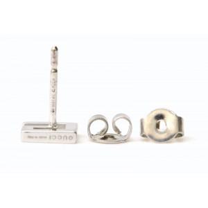Gucci 18K White Gold G Mark Pierced Earrings