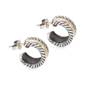David Yurman Mini Hoop Huggie Earrings 14K Yellow Gold and Sterling Silver