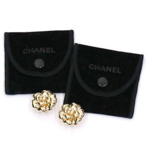 Chanel Camelia 18K Yellow Gold Diamond Earrings