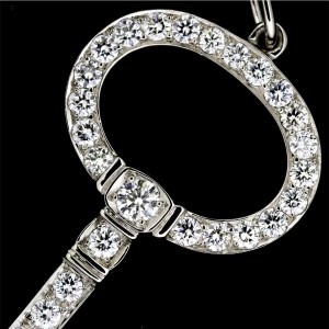 Tiffany & Co. 950 Platinum Diamond Key Pendant