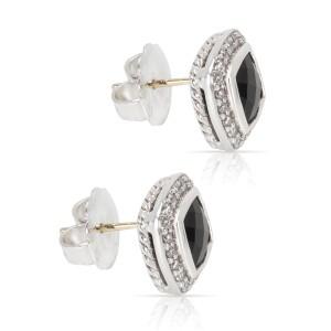 David Yurman Albion Sterling Silver Onyx Diamond Earrings