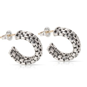 David Yurman Sterling Silver Chain Hoop Earrings
