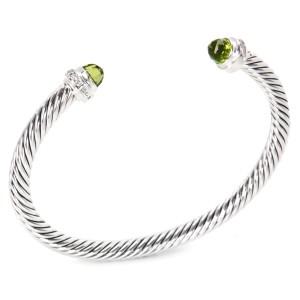 David Yurman Cable Classics Sterling Silver with Prasiolite & 0.10ct Diamonds Bangle Bracelet