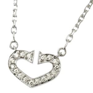 Cartier C Heart Necklace 18K White Gold Diamond