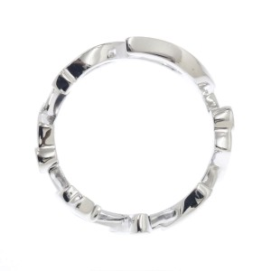 Cartier Signature Logo Ring 18K White Gold Size 4.75