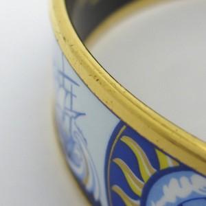 Hermes Gold Tone Blue Enamel Bangle Bracelet