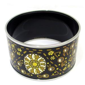 Hermes Silver Tone Enamel Bangle Bracelet
