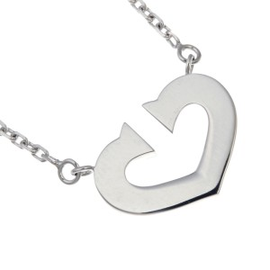 Cartier C Heart Pendant Necklace 18K White Gold