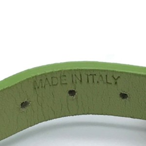 Valentino Green Leather Silver Tone Studded Bracelet