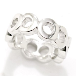 Chanel COCO 18K White Gold Ring Size 4.5