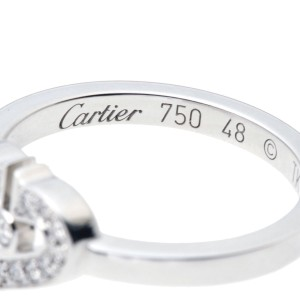Cartier Ring 18K White Gold Diamond Size 4.5