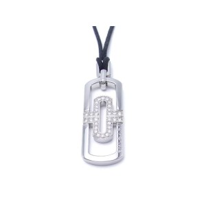 Bulgari Parentesi 18K White Gold Stainless Steel Diamond Pendant Necklace