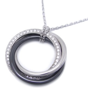 Cartier Trinity Necklace 18k White Gold and Ceramic Diamond