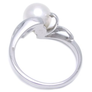 Mikimoto 18K White Gold Cultured Pearl Ring Size 4.75
