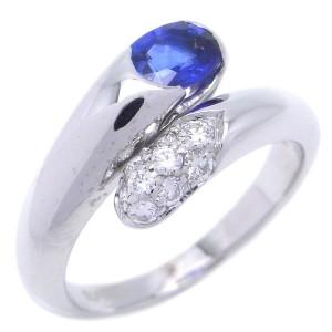 Bulgari Astrale 18K White Gold Diamond & Sapphire Ring Size 5.25