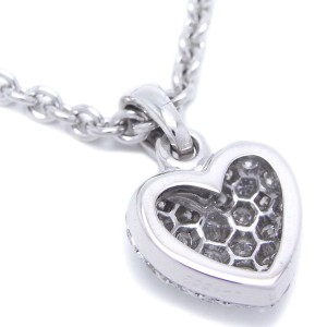 Cartier Heart Pendant Necklace 18k White Gold Pave Diamonds