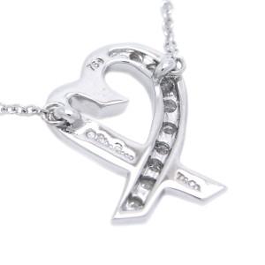 Tiffany & Co. Paloma Picasso Loving Heart Diamond 18k White Gold Pendant Necklace