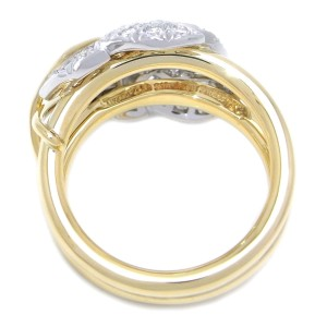 Tiffany & Co. Schlumberger 2 Leaf Diamond 18k Yellow Gold and Platinum Ring Size 5.25