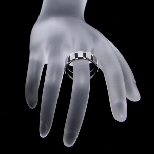 Chaumet 18k White Gold Rubber Class One Ring Size 8.25