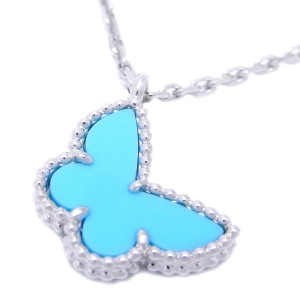 Van Cleef & Arpels Alhambra 18K White Gold Turquoise Necklace