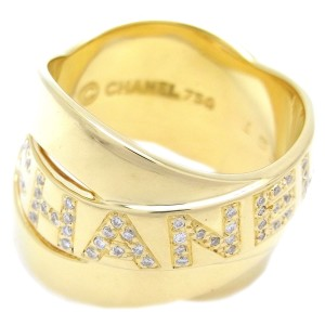 Chanel Bolduc 18K Yellow Gold Diamond Ring Size 6.75