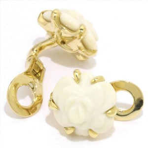 Chanel Camelia 18K Yellow Gold Cacholong Earrings