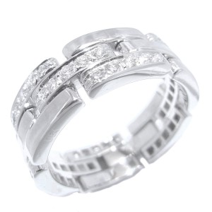 Cartier Maillon Panthere Ring 18k White Gold Diamond Size 10.75