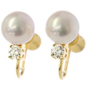 Mikimoto 18K Yellow Gold Cultured Pearl Diamond Earrings