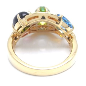 Bulgari Astrale Multi Stone 18k Yellow Gold Ring Size 6.75
