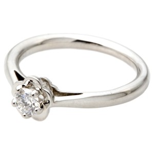 Chanel Camellia Platinum Diamond Ring Size 6