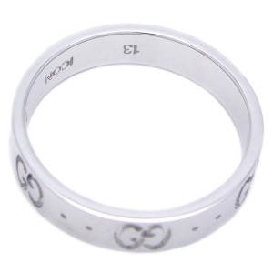 Gucci Icon 18k White Gold Ring Size 6.25