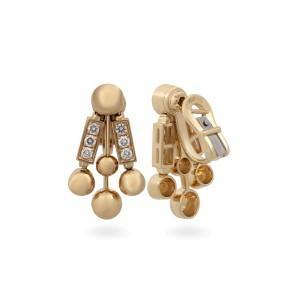 Bulgari 18K Yellow Gold Diamond Bar Earrings
