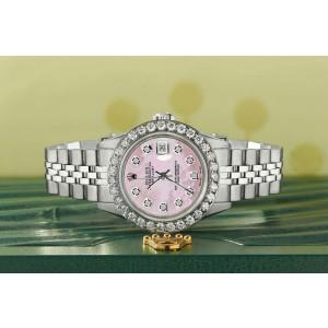 Rolex Datejust Steel 26mm Jubilee Watch Pink MOP 1.3CT Diamond Bezel & Dial