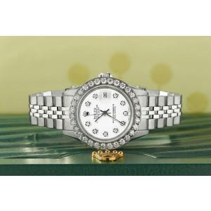 Rolex Datejust Steel 26mm Jubilee Watch Stone White 1.3CT Diamond Bezel & Dial