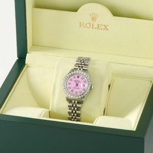 Rolex Datejust Steel 26mm Jubilee Watch Pastel Pink 1.3CT Diamond Bezel & Dial