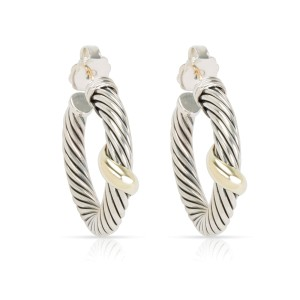 85a124a6e David Yurman Cable Hoop Earrings In 14K Yellow Gold/Sterling Silver | David  Yurman | Buy at TrueFacet