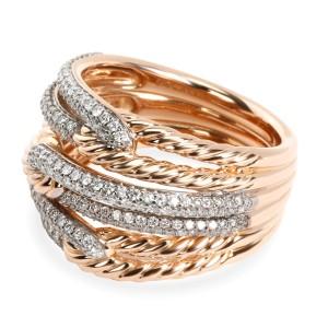 David Yurman Labyrinth Diamond Ring in 18K 2 Tone Gold 0.87 CTW