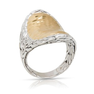 John Hardy Hammered Palu Saddle Ring in Sterling Silver & 22K Yellow Gold