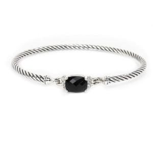 David Yurman Onyx & Diamond Cable Bangle in Sterling Silver (0.06 CTW)