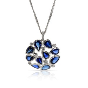 Rahaminov Sapphire & Diamond Necklace in 18K White Gold 9.53 CTW