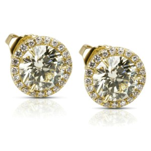 18KT Yellow Gold Diamond Halo Studs 2.22 ctw