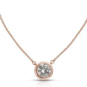 Doughnut Bezel Diamond Pendant in 14k Rose Gold with Chain (0.94 CTW)