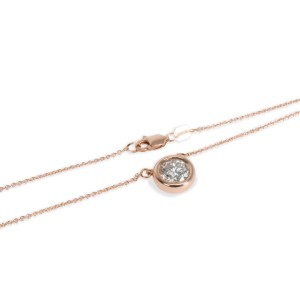 Solitaire Bezel Pendant on Chain in 14K Pink Gold G/H SI1-2 1.04 CT