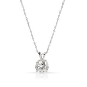 Diamond Solitaire Necklace in 14K White Gold H SI1 1.91 CTW